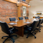 meeting space set up as a boardroom