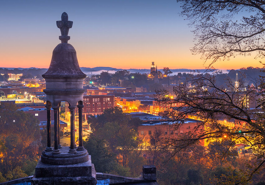 Rome, Georgia, USA downtown historic cityscape at twilight from Myrtle Hill Cemetery